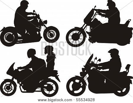 people on bikes - silhouettes