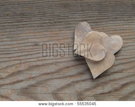 Wooden background hearts