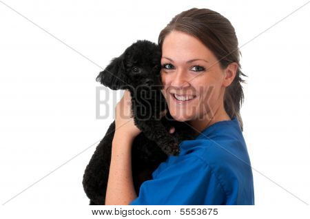 Veterinary Assistant With Pet Dog Isolated