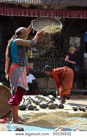 Woman threshing grain in Kathmandu, Nepal