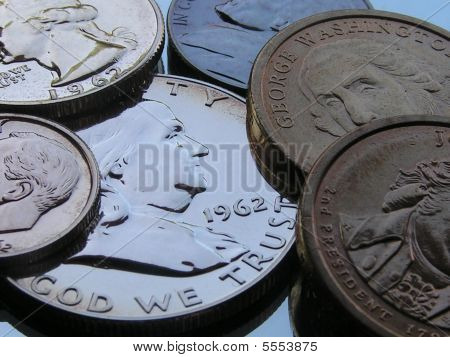 Older And Newer Coins Close-up
