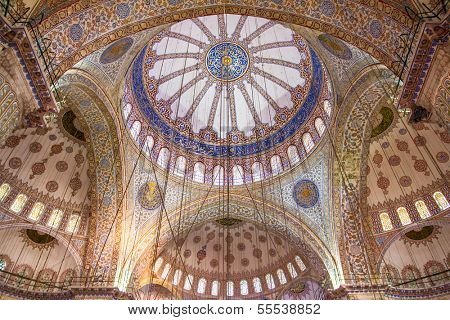 ISTANBUL, TURKEY - JULY 27: Sultan Ahmed Mosque on july 27, 2013 in Istanbul, Turkey.The mosque is popularly known as the Blue Mosque for the blue tiles adorning the walls of its interior.