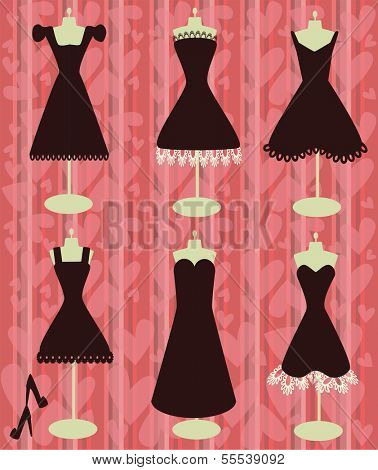 romantic black dresses on the heart shapes background