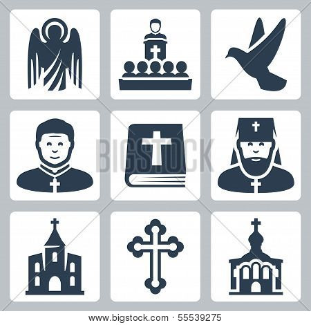 Vektor christliche Religion Icons set