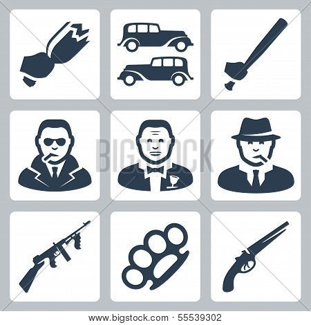 Vektor isoliert Mafia Icons set
