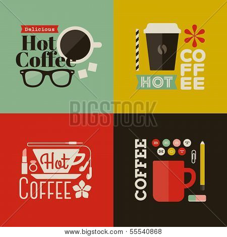 Hot Coffee. Collection Of Vector Design Elements