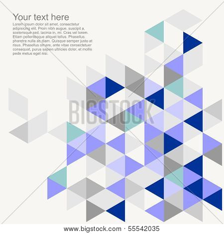 Pastel colorful triangle vector geometric mosaic background with empty space for text.