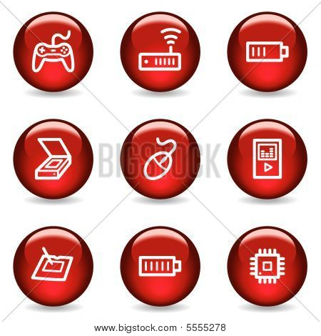 Electronics web icons set 2, red glossy series