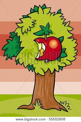 Nibbled Apple On Tree Cartoon Illustration