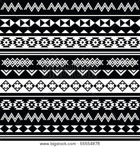 Aztec tribal seamless black and white pattern
