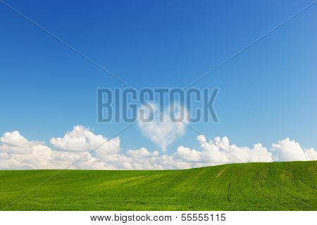 Heart shaped cloud above green summer field landscape. Love, Valentine's Day concepts