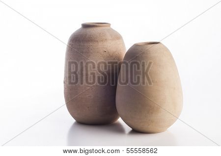 set of two clay pots