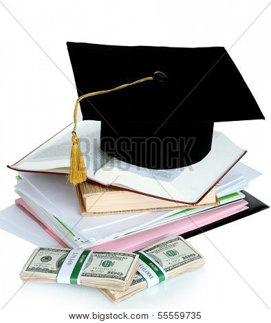 Money for graduation or training isolated on white