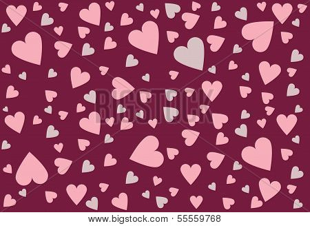 Valentines Day Hearts Background Vector in Deep Red