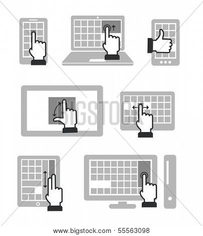 Guide with basic gestures to work with modern touch gadgets isolated on white