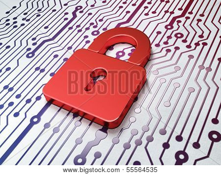 Protection concept:  Closed Padlock on Circuit Board background