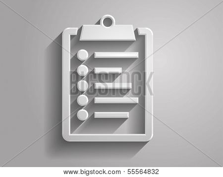 3d Vector illustration of clipboard icon