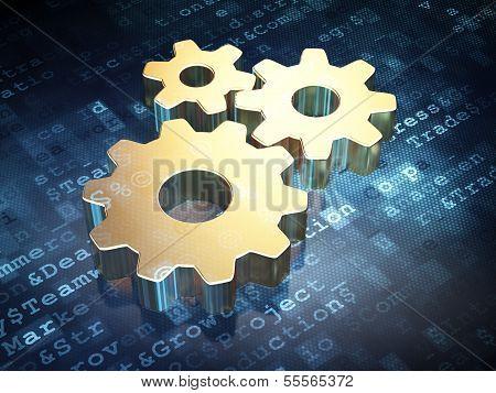 Business concept: Golden Gears on digital background