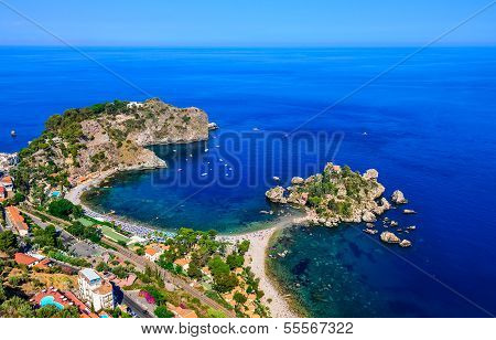 Aerial View Of Isola Bella Beach Coast In Taormina, Sicily