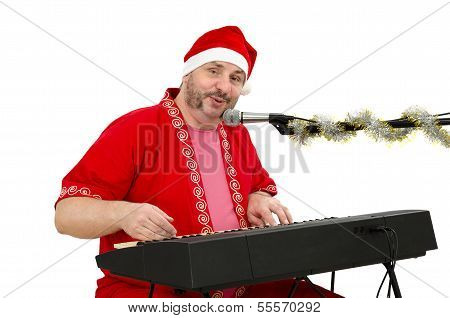 Santa Plays And Sings On Electric Piano