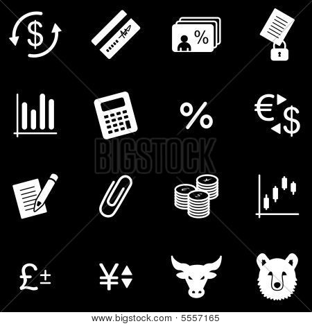 Finance white web icons