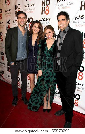 LOS ANGELES - DEC 15:  Blake Berris, Chrishell Stause, Kate Mansi, Galen Gering at the NOH8 Campaign 5th Anniversary Celebration at Avalon on December 15, 2013 in Los Angeles, CA