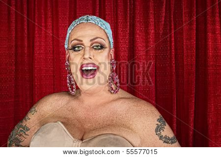 Laughing Drag Quen Without Wig