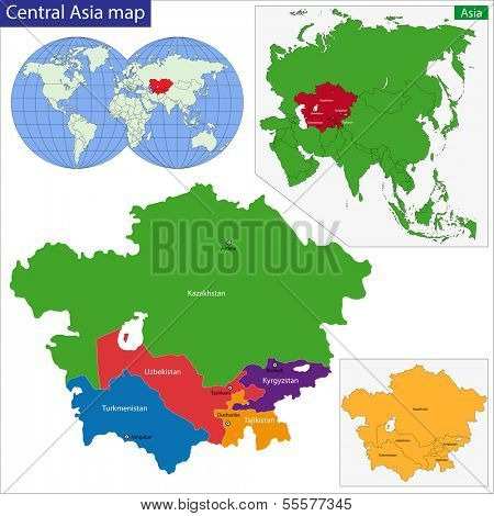 Color map of Central Asia divided by the countries
