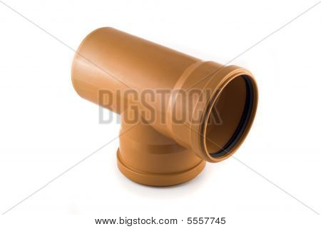 Plastic T-shaped Sewer Tube Isolated Over White