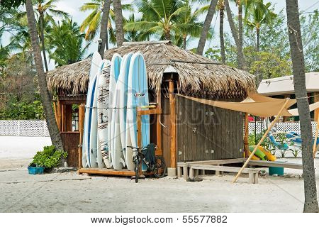 Surf Rental Shop On Kona Beach On Hawaii Big Island