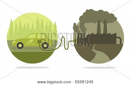 Vector concept of eco car and polluted cities
