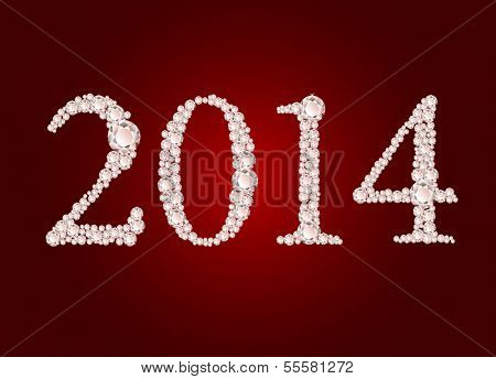 Vector illustration of diamond 2014 year on red background