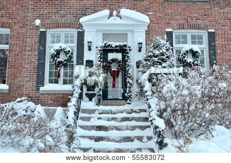 House entrance after snowstorm