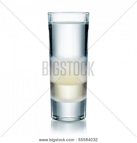 Multilayer cool and stylish vodka or gin shot isolated on white. Bar concept.