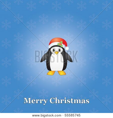 Christmas Background With Penguin