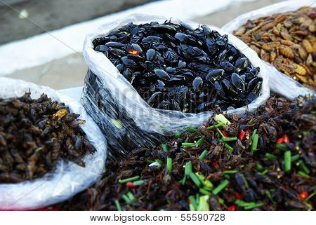 Edible Insects In Cambodia, Local Food