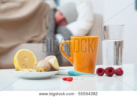 Sick Man And Home Treatment