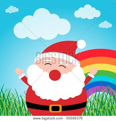 Santa Claus with rainbow in the forest