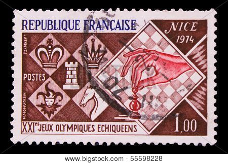 FRANCE - CIRCA 1974: A stamp printed in France, 16 Olympic Games