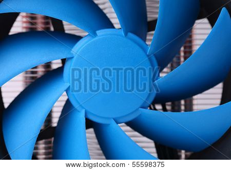 Blue computer fan for PC case.