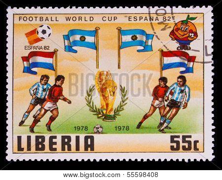 LIBERIA - CIRCA 1982: A post stamp printed LIBERIA, Argentina, N