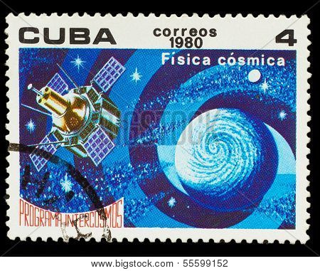 CUBA - CIRCA 1980: A stamp printed in CUBA, Intercosmos program