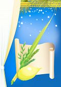 stock photo of sukkoth  - Happy Sukkot vector decorative greeting card
