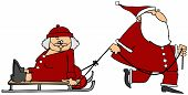 Santa pulling Mrs Claus on a sled
