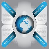stock photo of four-wheel  - Abstract vector background with four blue tabs and glass space for captions and texts with a globe in the middle - JPG
