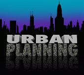 stock photo of overpopulation  - Urban Planning Words City Skyline Building Plan - JPG