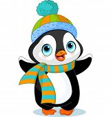 stock photo of north-pole  - Cute winter penguin with hat and scarf - JPG