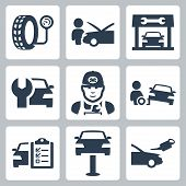 stock photo of motor vehicles  - Vector vehicle service station icons set over white - JPG