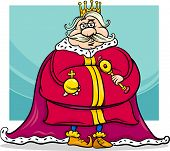 picture of scepter  - Cartoon Illustration of Funny Fat King Fairytale Fantasy Character - JPG