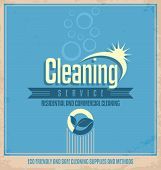stock photo of housekeeper  - Retro poster design for cleaning service - JPG